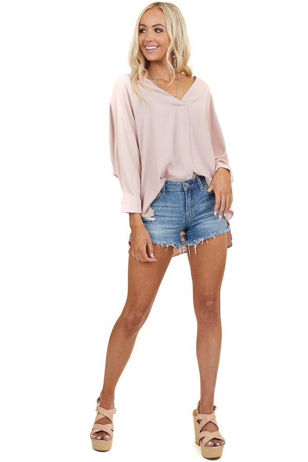 Blush Pink Long Sleeve Flowy Top with V Neckline