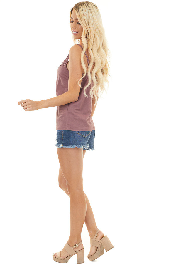 Marsala Woven Tank Top with Floral Lace Details