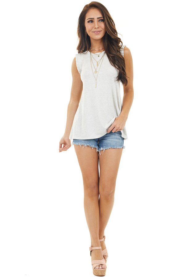 Cloud Grey Sleeveless Knit Top with Ruffle Detail