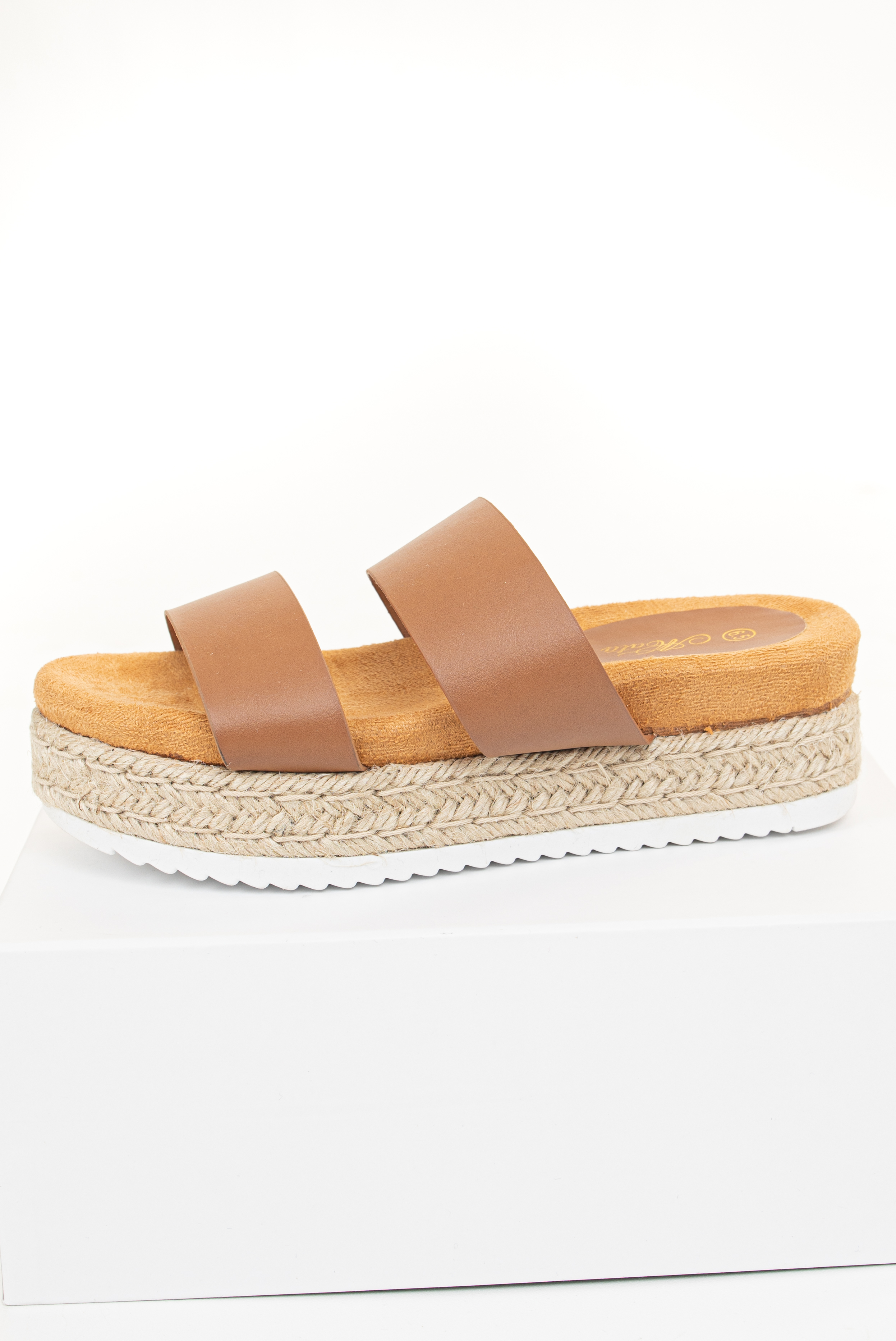 Cognac and Camel Slip On Espadrille Sandal with White Sole