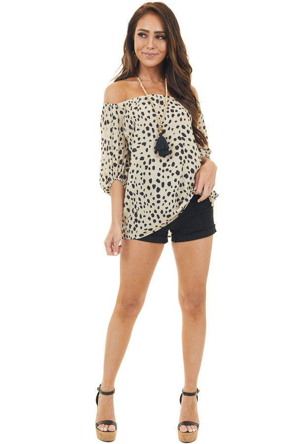 Cream Cheetah Print Off Shoulder Top with 3/4 Puff Sleeves
