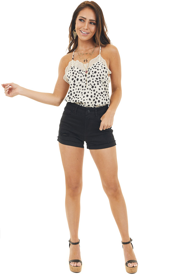 Champagne Cheetah Print Woven Tank Top with Lace Detail