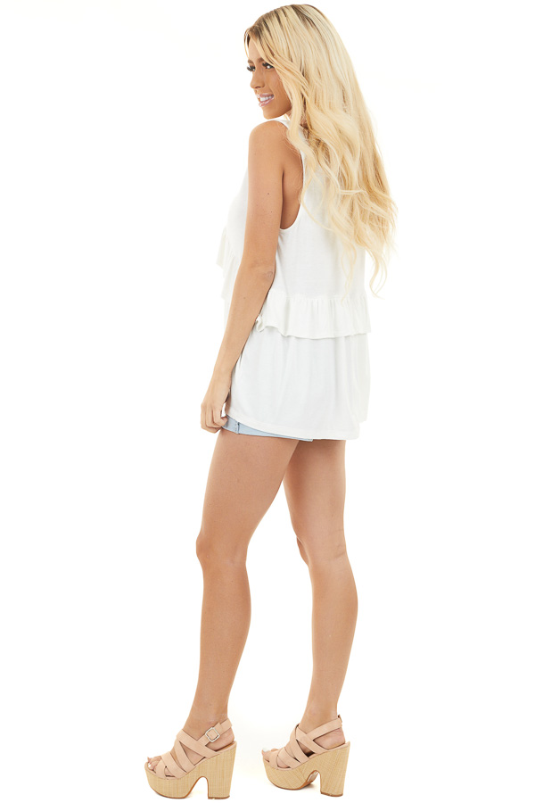Off White Sleeveless V Neck Top with Ruffle Details