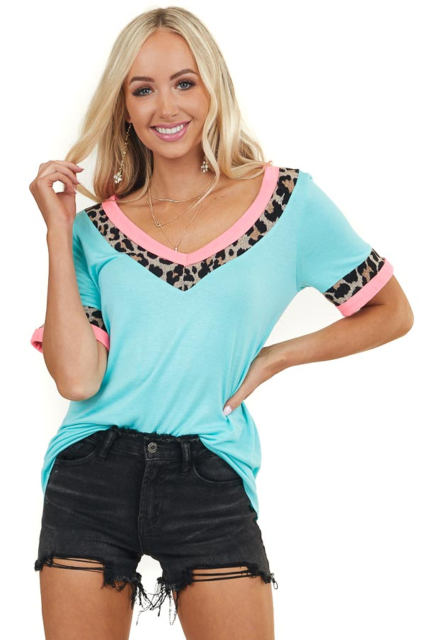 Turquoise and Leopard Print Short Sleeve V Neck Knit Top