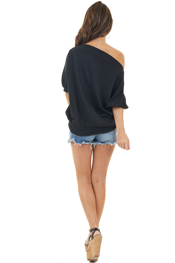 Black Off the Shoulder Knit Top with Short Bubble Sleeves