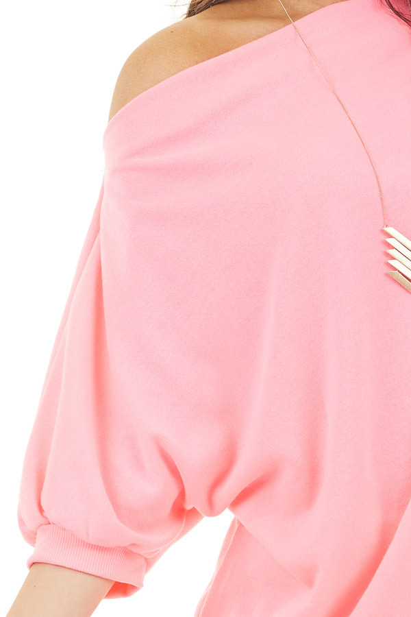 Neon Pink Off the Shoulder Top with Short Bubble Sleeves