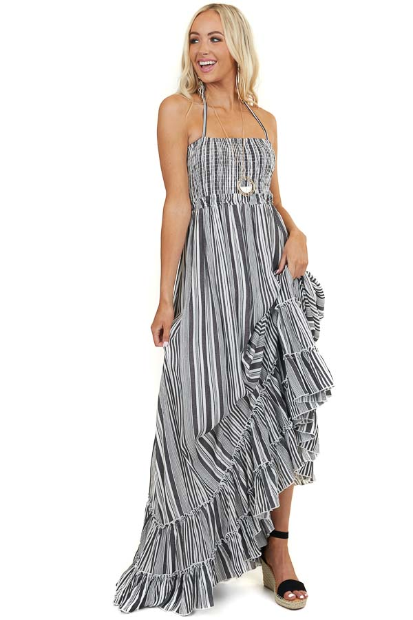 Charcoal Stripe Print Halter Neck Maxi Dress with Open Back