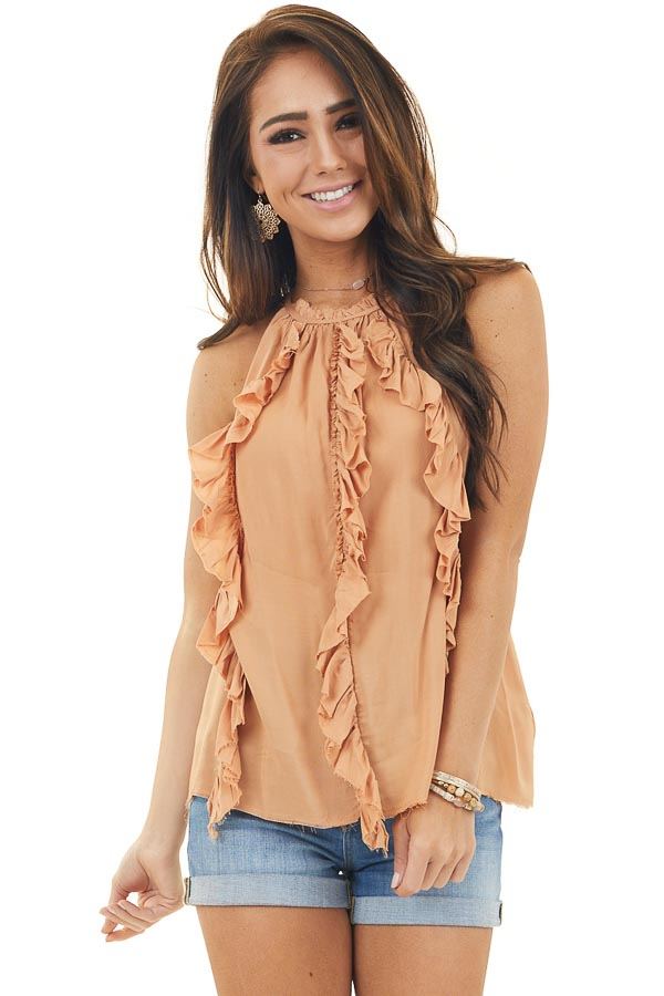 Papaya Halter Neck Tank Top with Ruffle Details