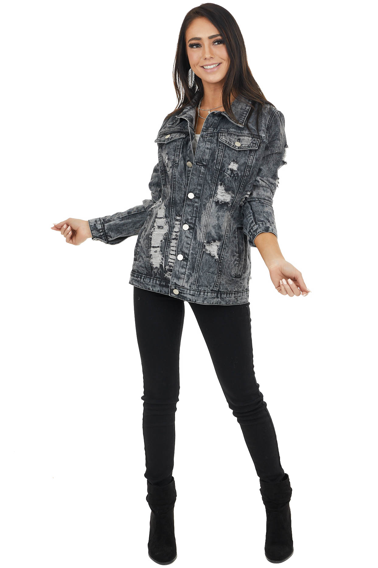 Charcoal Distressed Denim Button Up Jacket with Pockets