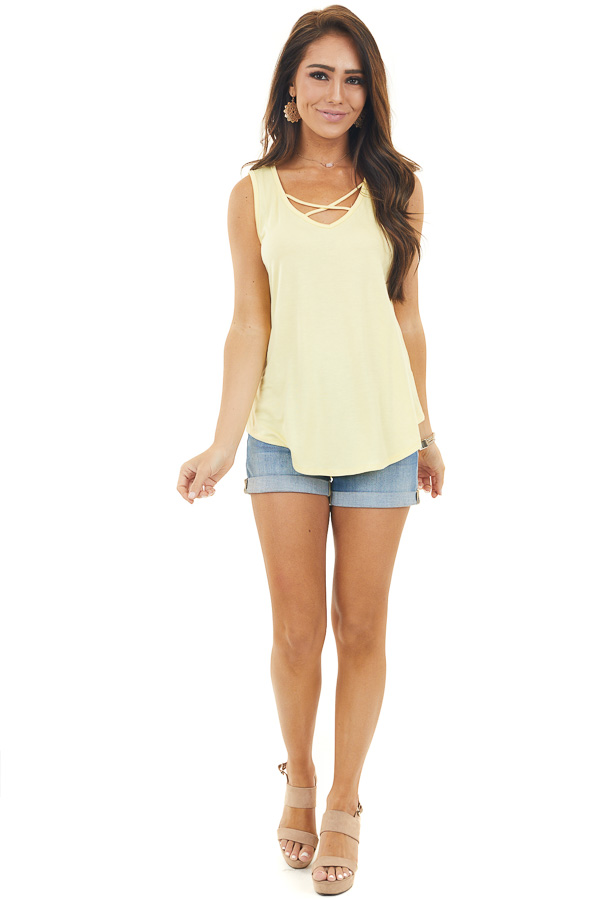 Banana Yellow Sleeveless Tank Top with Criss Cross Details