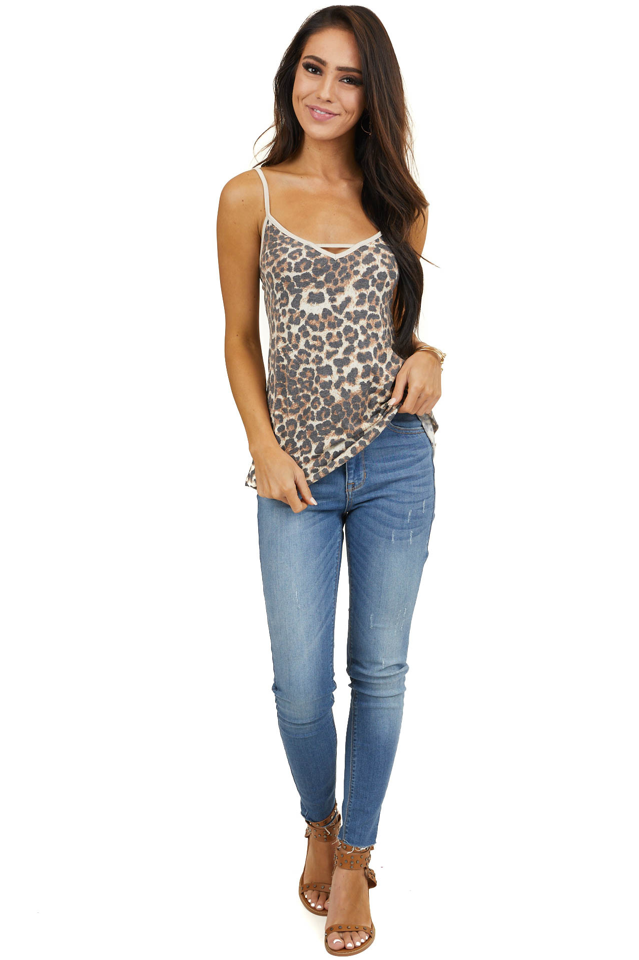 Ivory and Taupe Leopard Print Tank Top with Cutout Detail