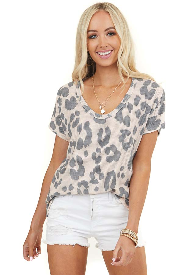 Blush Pink Leopard Print Waffle Knit Top with Dolman Sleeves