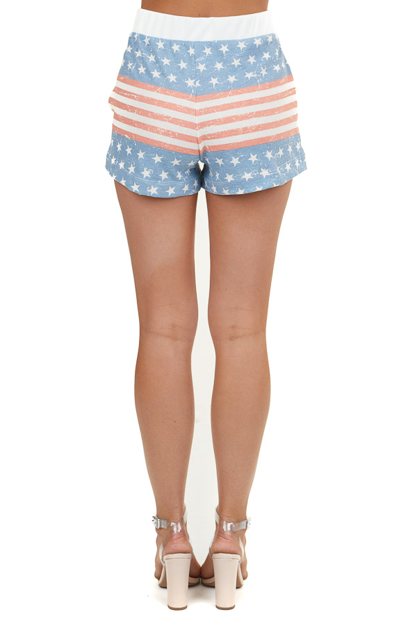 Red White and Navy Patriotic Waffle Knit Shorts with Tie