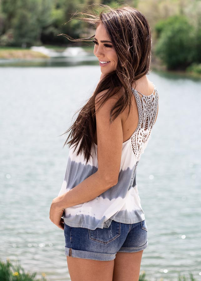 Sage and Ivory Tie Dye Tank Top with Crochet Lace Details