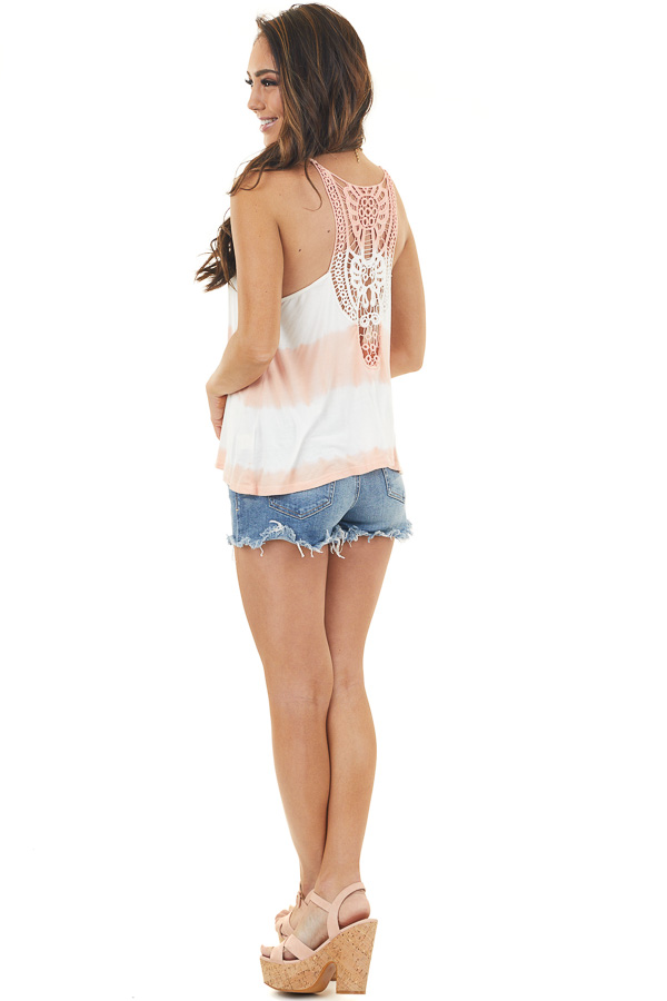 Peach and Ivory Tie Dye Tank Top with Crochet Lace Details