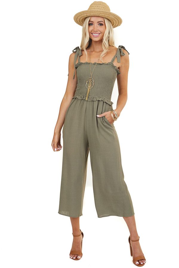 Olive Smocked Jumpsuit with Bow Tie Straps and Ruffles