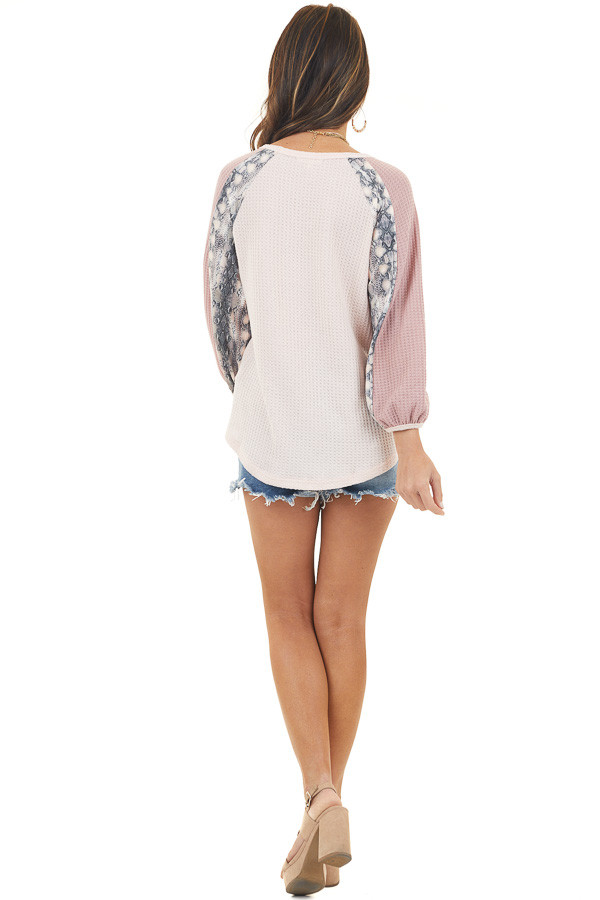 Blush and Dusty Rose Waffle Knit Top with Snakeskin Contrast