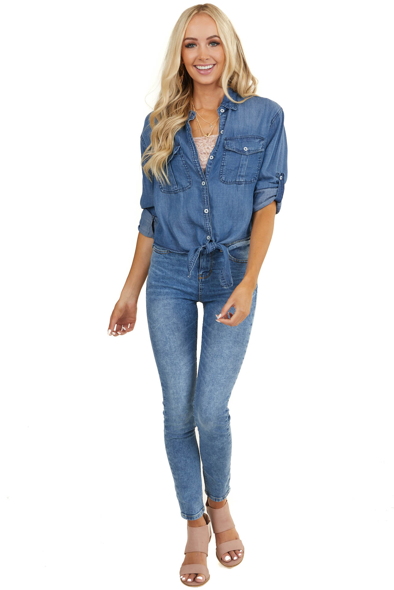 Medium Wash Chambray Button Up Denim Top with Front Tie