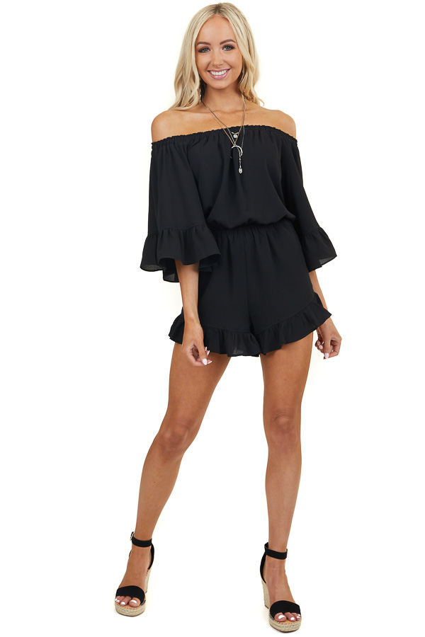 Black Off the Shoulder Ruffle Romper with Half Flare Sleeves