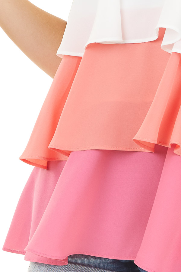 Off White and Pink Color Block Tiered Tank Top