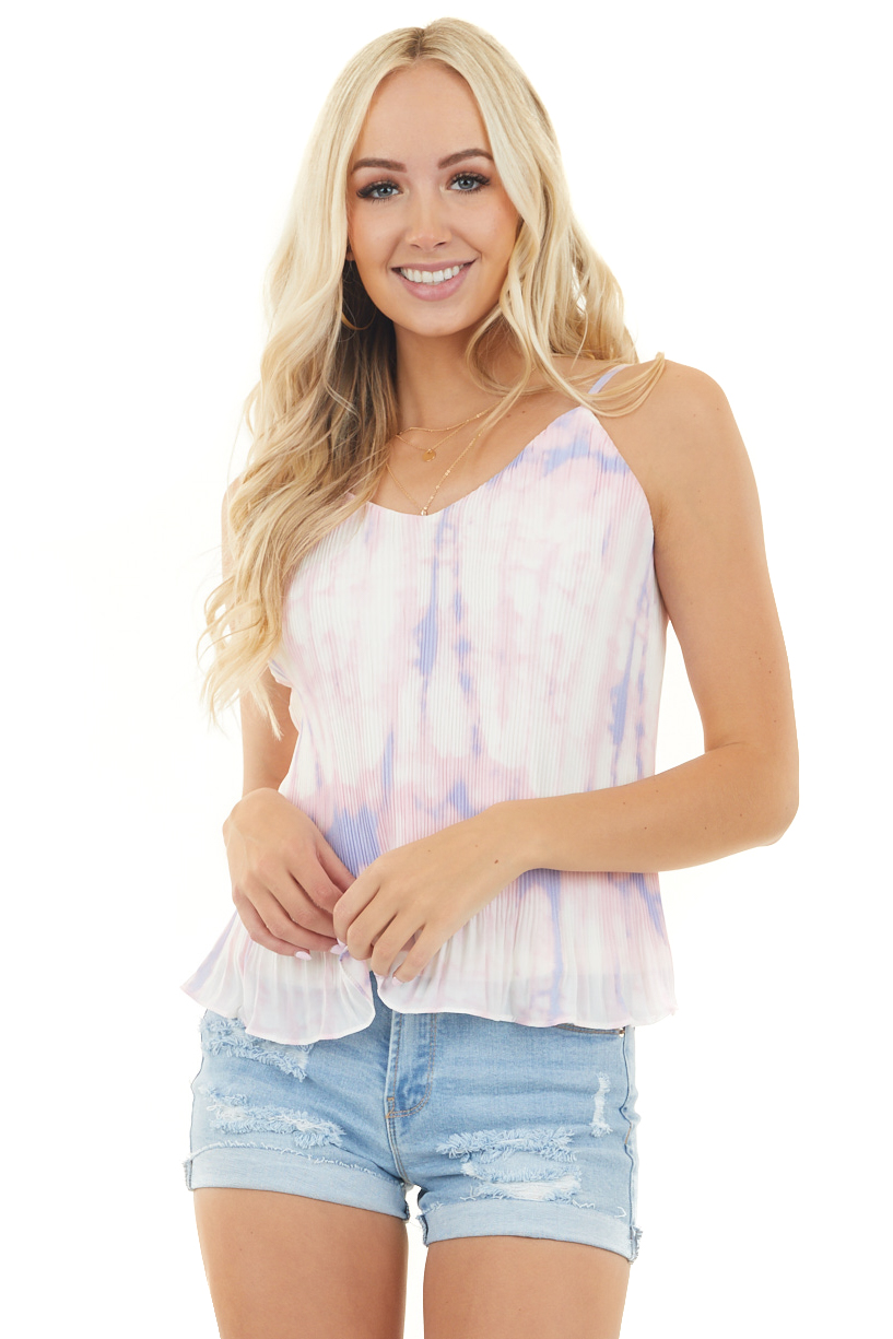 Blush Pink Tie Dye Pleated Flowy Top with Adjustable Straps