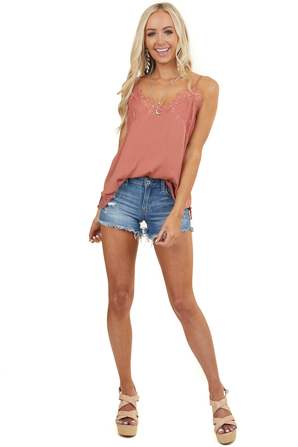 Terracotta Tank Top with Lace Details and Adjustable Straps
