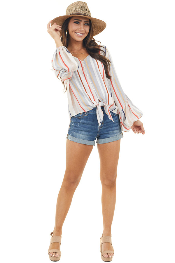 Multicolor Striped Button Up Top with Long Bubble Sleeves