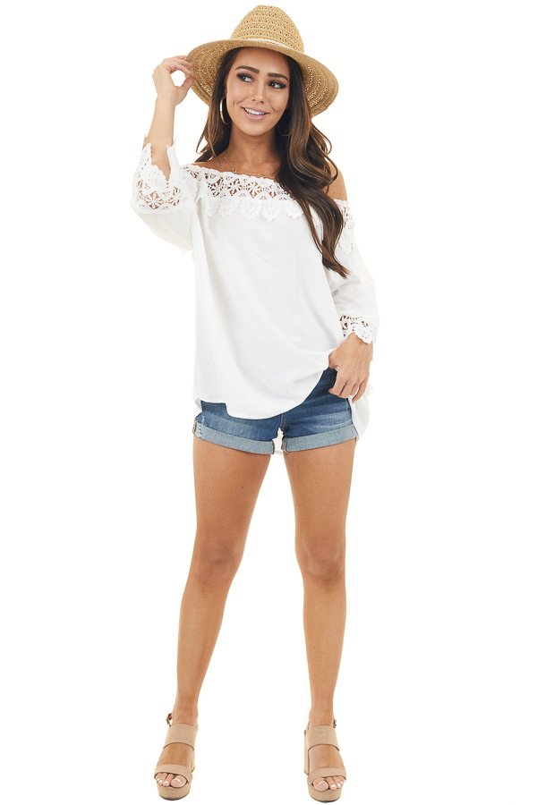 Off White Off the Shoulder Blouse with Lace Trim Details