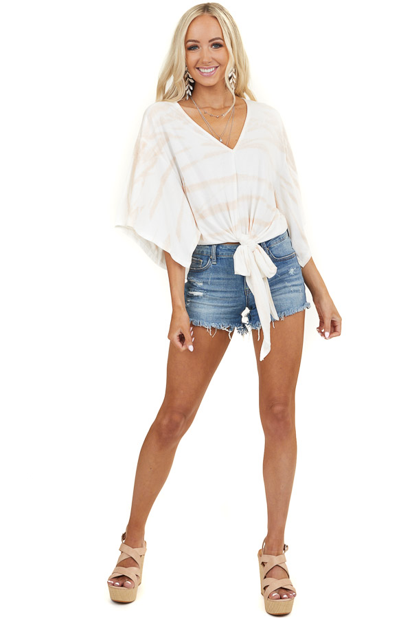 Ivory Abstract Print Top with V Neckline and Kimono Sleeves