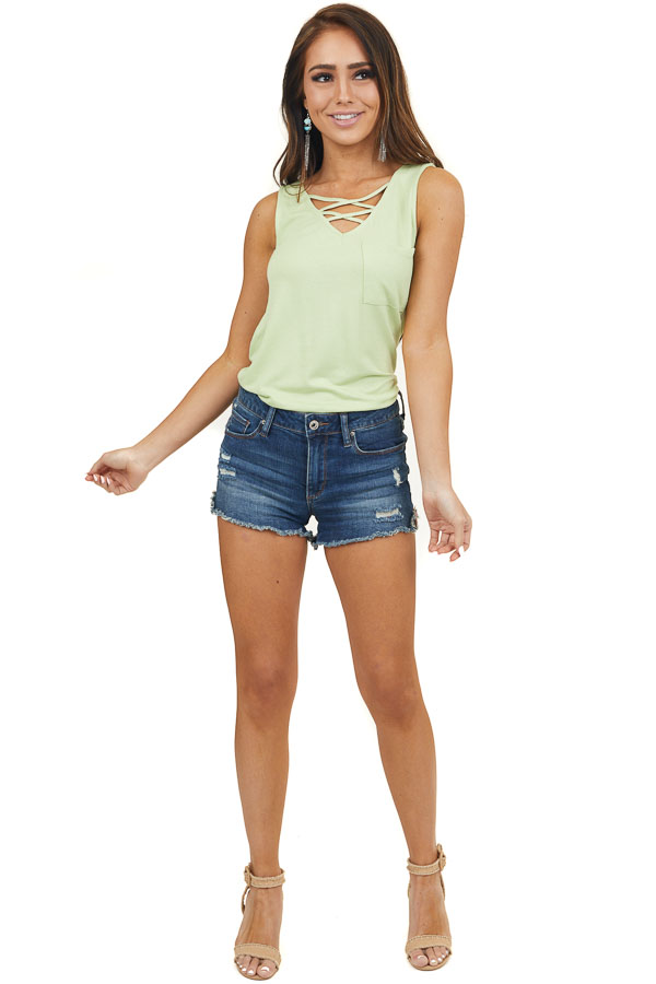 Pistachio Green Tank Top with Pocket and Criss Cross Detail