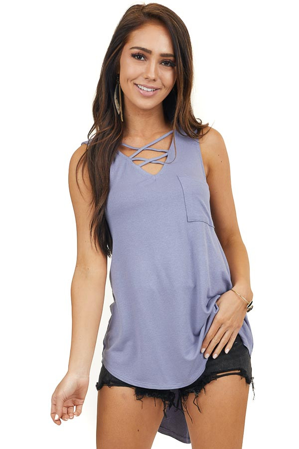 Dusty Blue Tank Top with Pocket and Criss Cross Detail