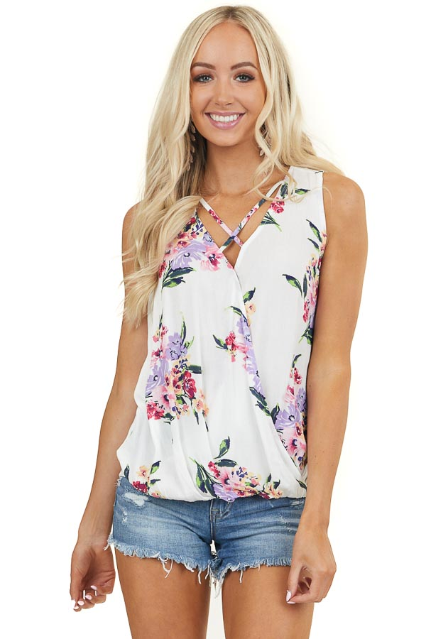 Ivory Floral Print Surplice Tank Top with Strappy Details