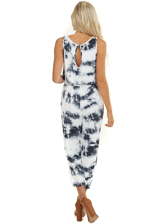 Ash and White Tie Dye Sleeveless Jumpsuit with Waist Tie