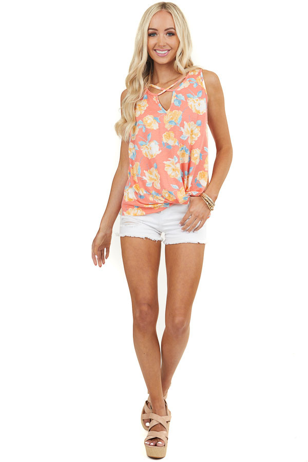 Coral Floral Print Tank Top with Strappy and Twist Details
