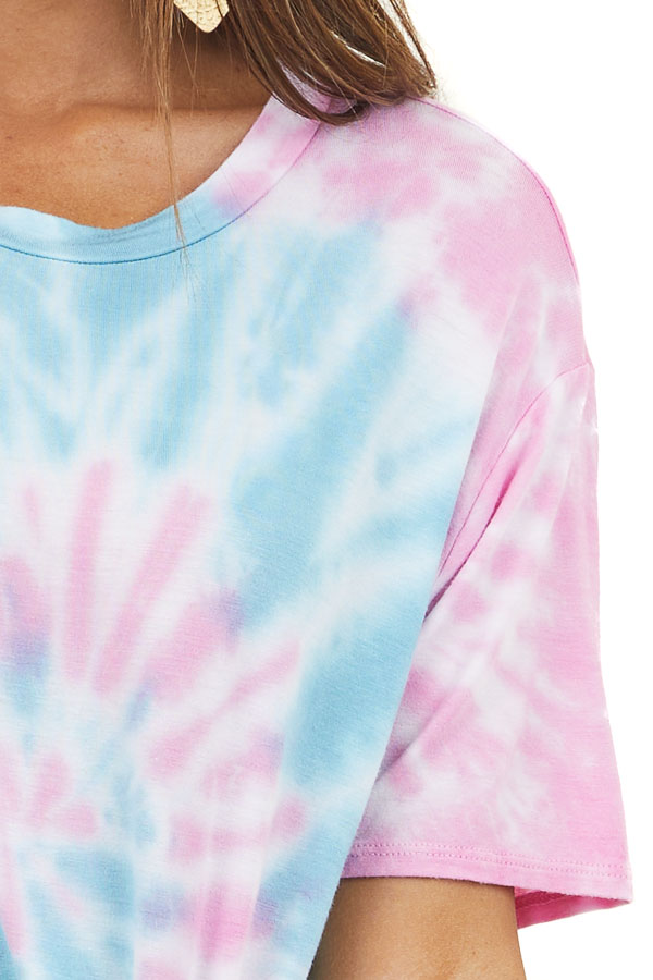 Pink and Aqua Tie Dye Soft Short Sleeve Knit Shirt