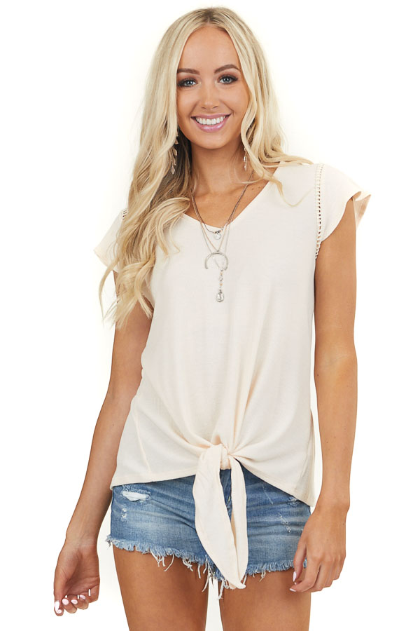Desert Sand V Neck Top with Front Tie and Crochet Details