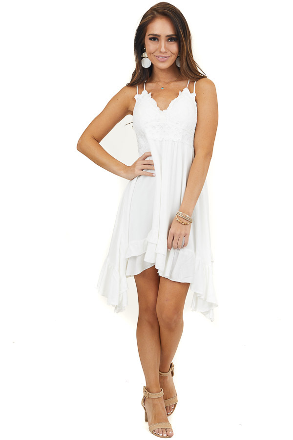 Off White Sleeveless Dress with Crochet Lace Details