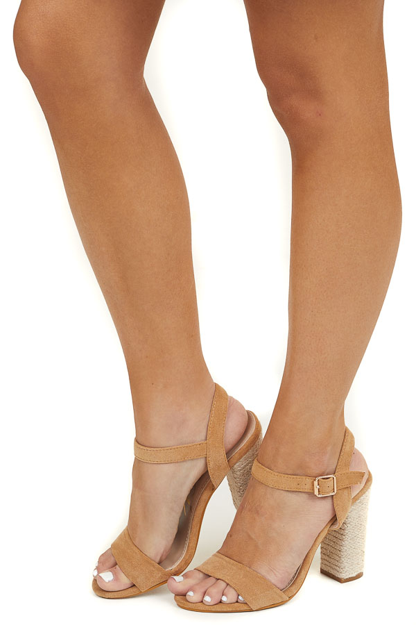 Toffee Open Toe Faux Suede Sandal with Espadrille Heel