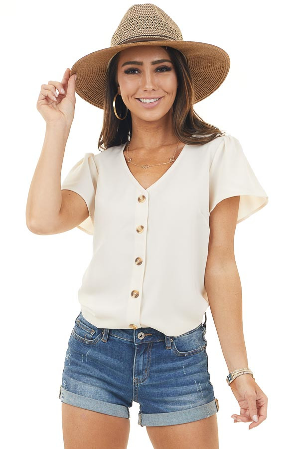 Champagne Short Sleeve Blouse with Front Button Detail