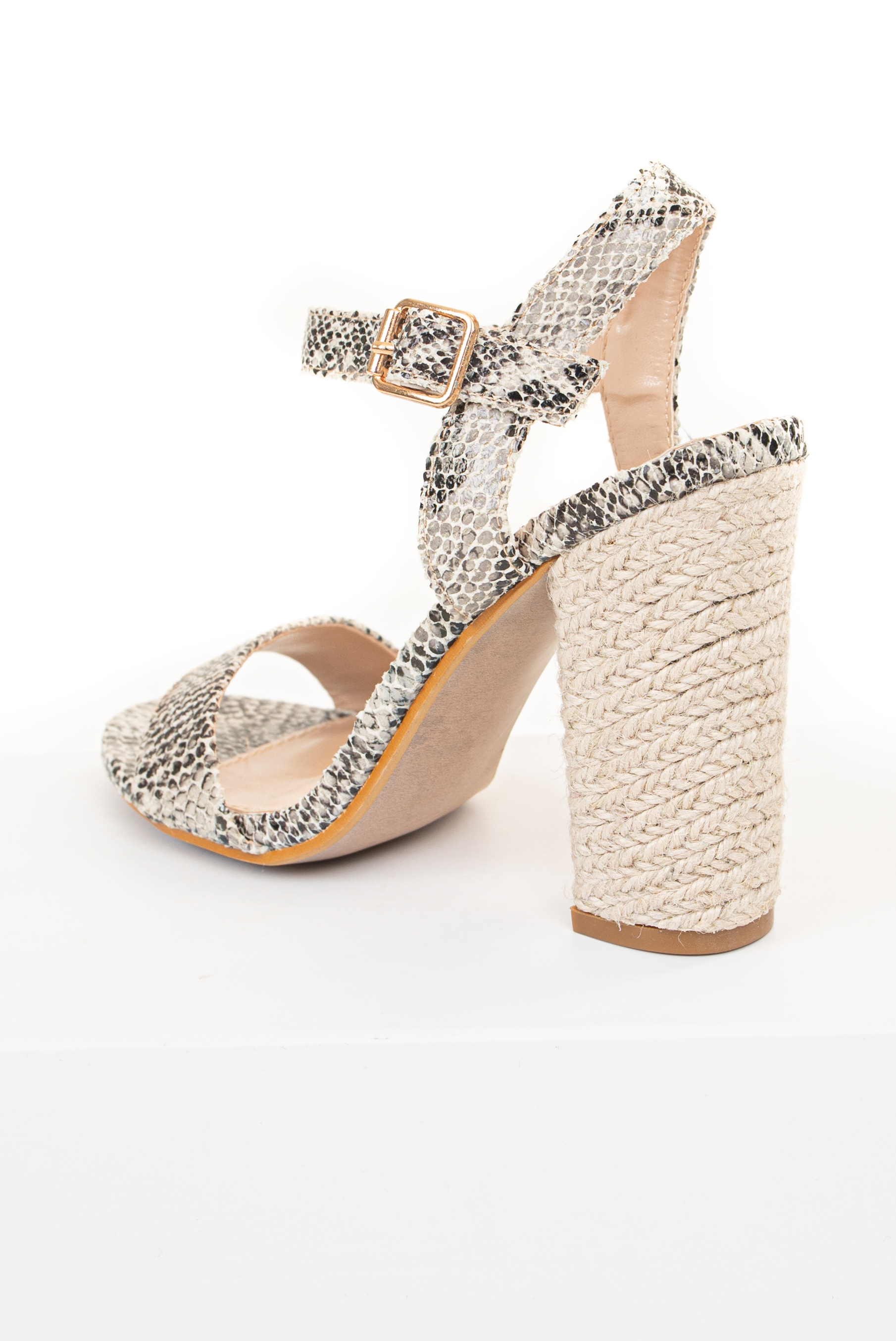 Grey Snakeskin Open Toe Textured Sandal with Espadrille Heel