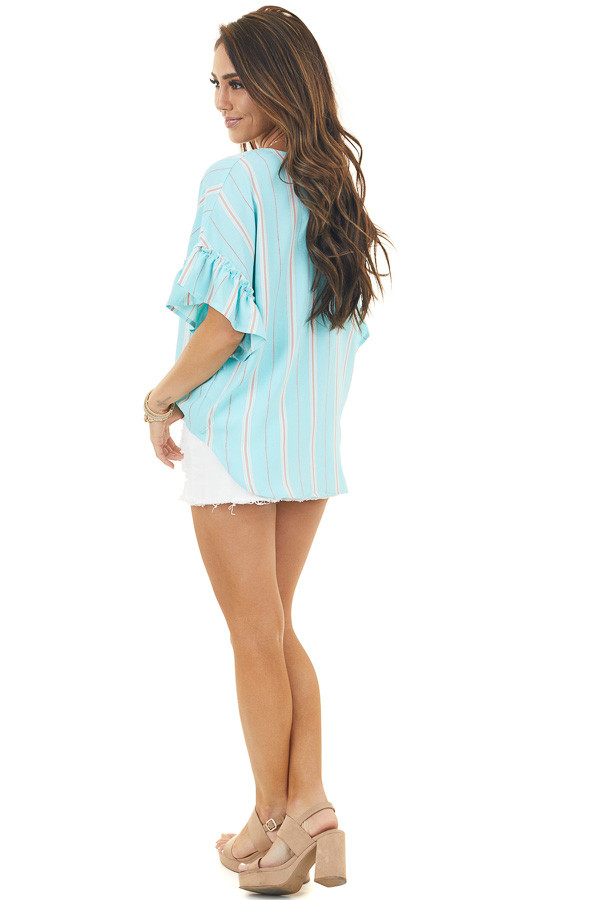 Light Aqua Striped Top with Front Tie and Ruffle Sleeves