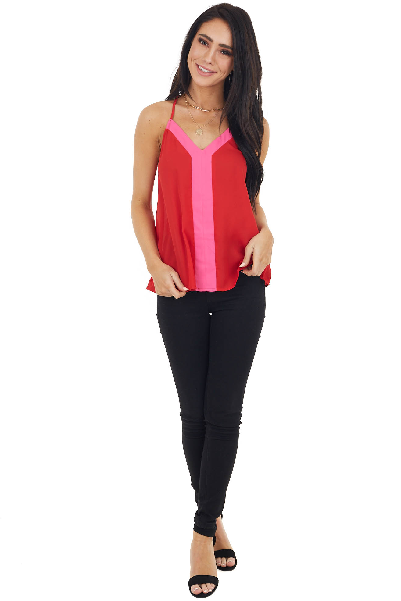 Lipstick Red Sleeveless Top with Hot Pink Contrast Detail