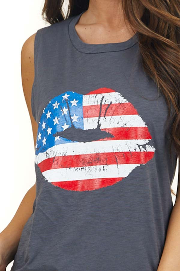 Charcoal Grey Muscle Tank with American Flag Lips Graphic