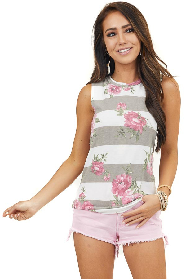 White and Taupe Striped Tank Top with Floral Details