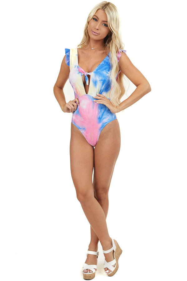 Blue and Pink Tie Dye One Piece Swimsuit with Front Tie