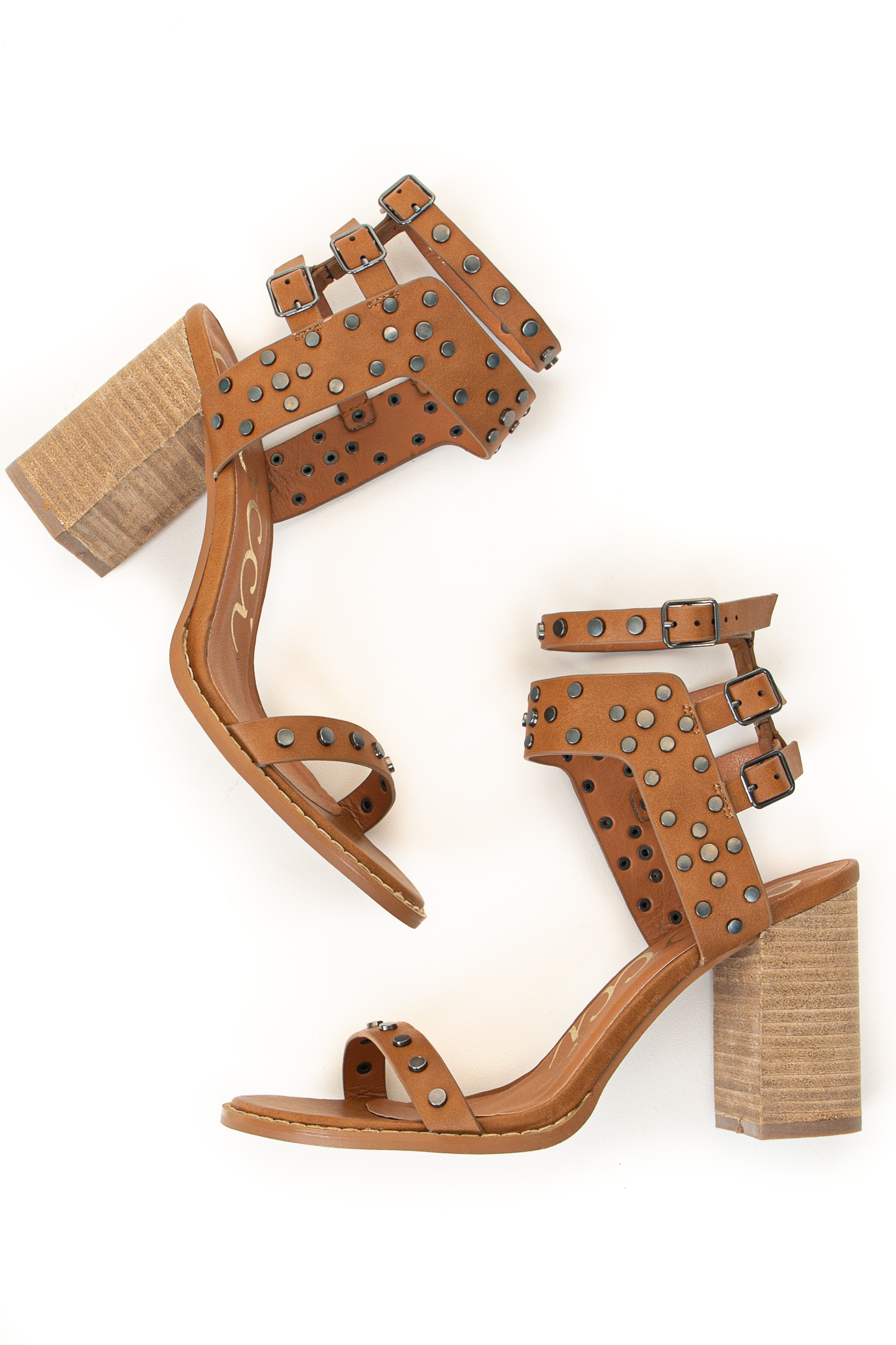 Cognac Open Toe High Heel Sandal with Strap and Stud Details