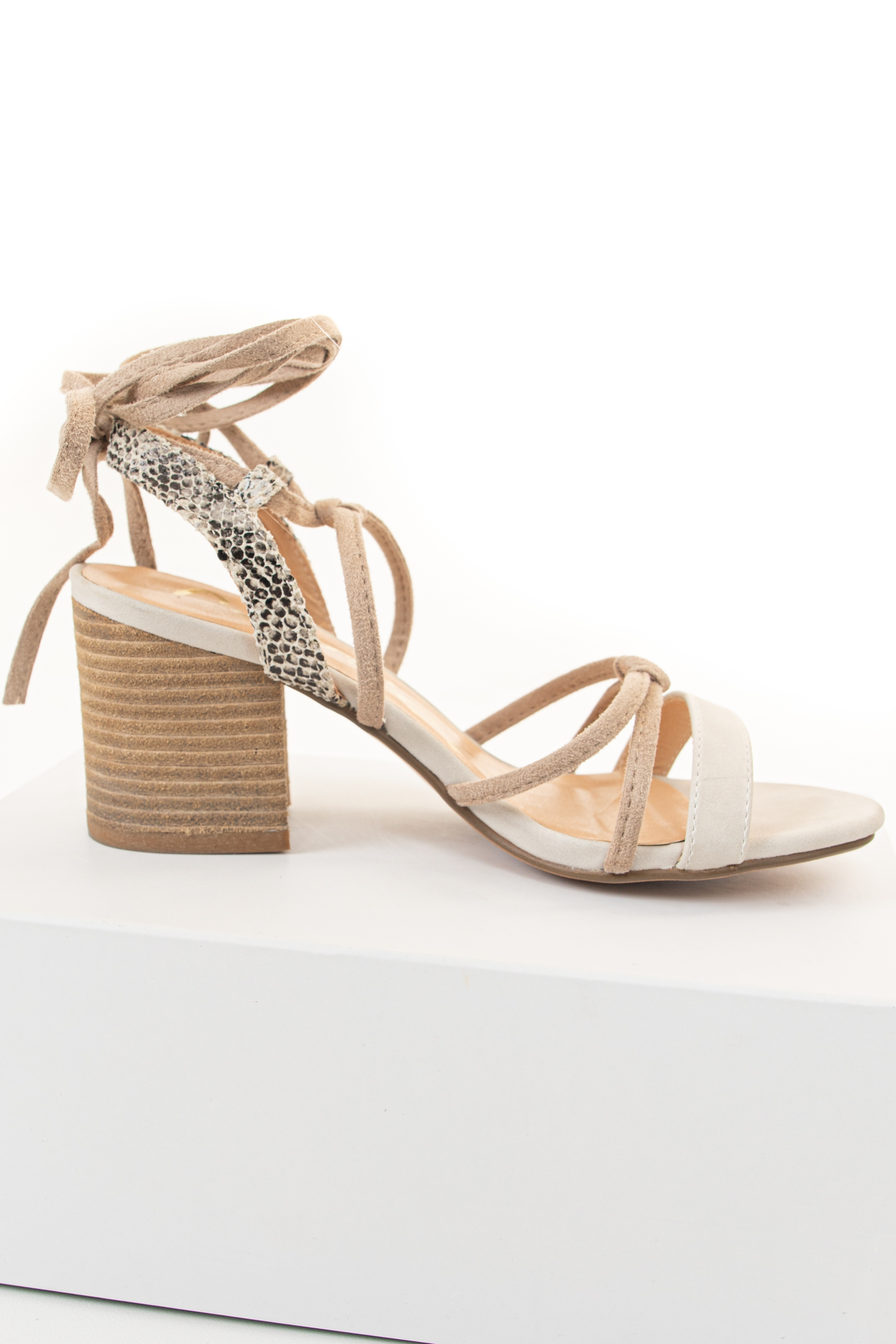 Ivory and Snakeskin Heeled Sandal with Long Ankle Straps