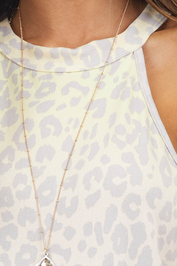 Taupe Leopard Print Sleeveless Knit Top with High Neckline