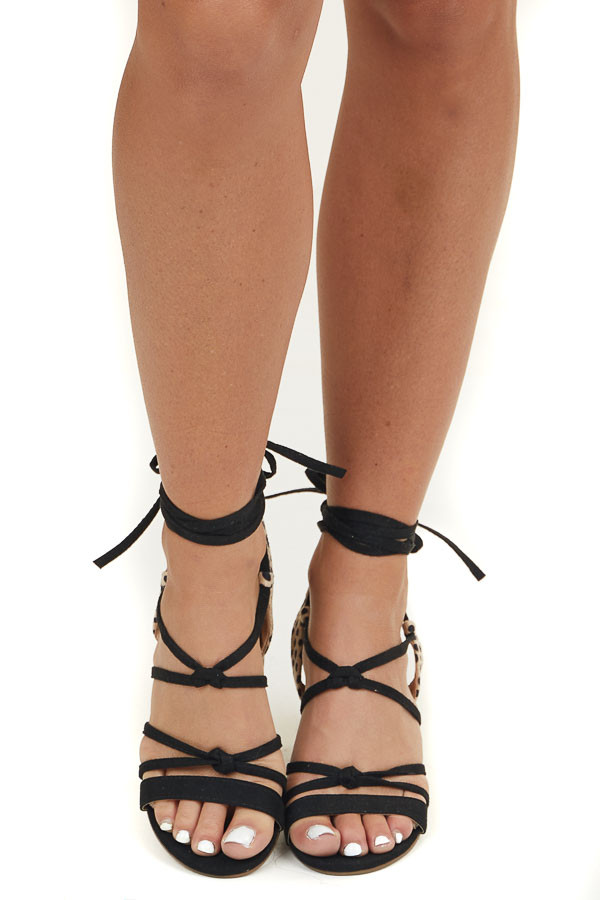 Black and Cheetah Heeled Sandal with Long Ankle Straps