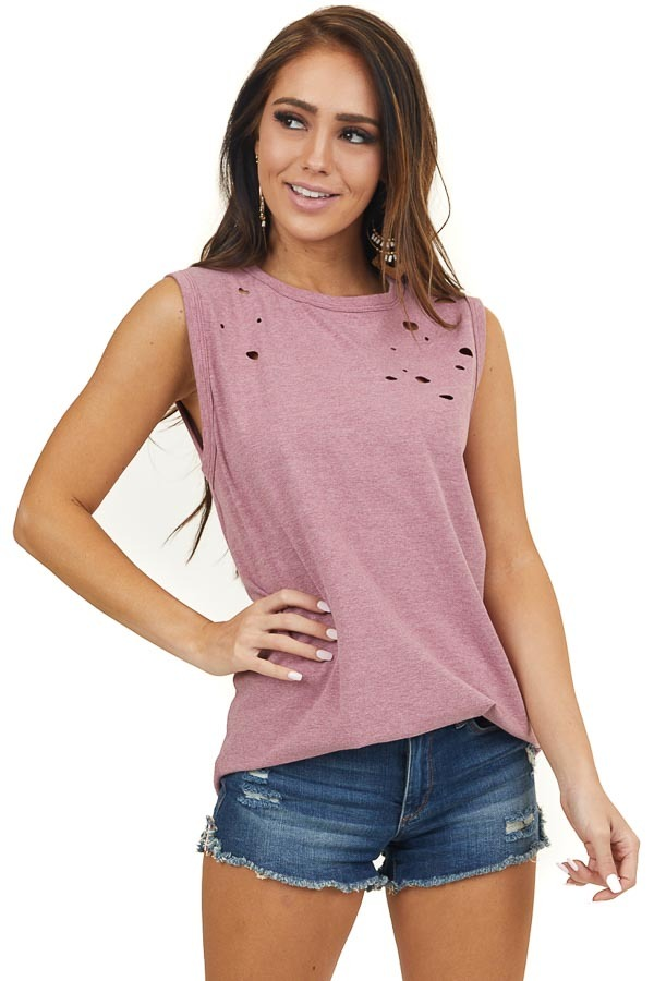 Marsala Muscle Tank with Laser Cut Hole Details
